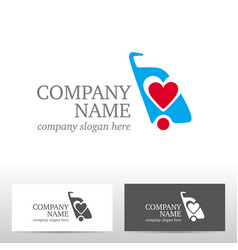 travel logo design with bag and heart vector image vector image