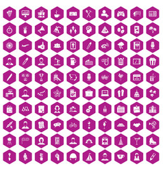 100 team building icons hexagon violet vector image