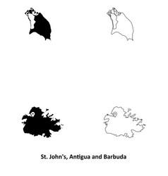 1013 st johns antigua and barbuda map vector image