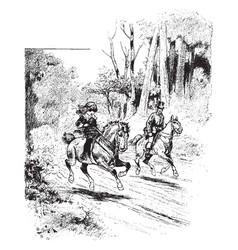 A man and a girl riding horses vintage vector