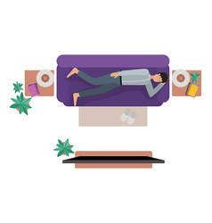 aerial view of man resting avatar character vector image