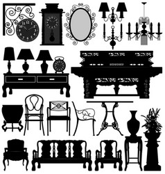 Antique old furniture home house a set of vector