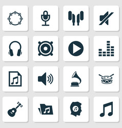 Audio icons set collection of equalizer file vector