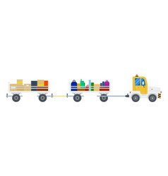 Baggage tractor at airport flat design vector