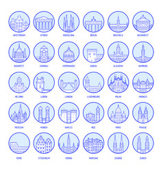 big collection badges european cities vector image