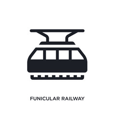 Black funicular railway isolated icon simple vector