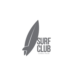 Black white surfing logo template with surfboard vector