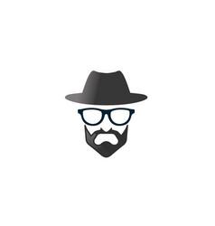 Bowler hat head beard glasses logo icon vector