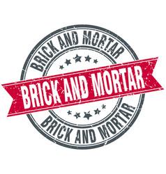 Brick and mortar round grunge ribbon stamp vector