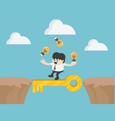 businessman cross the cliff with key to success vector image