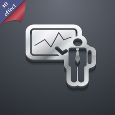 Businessman making report icon symbol 3D style vector