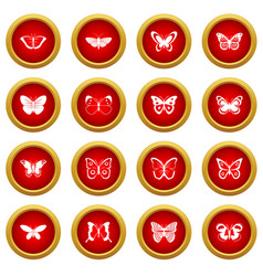 butterfly icon red circle set vector image