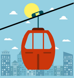 cable car transport city sun vector image