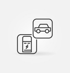 charging point with car outline concept vector image