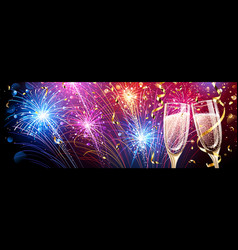 Colorful fireworks with champagne and confetti vector