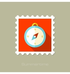 Compass flat stamp with long shadow vector