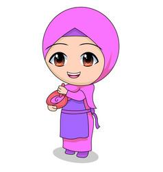Cook cute muslim children cartoon cartoon vector