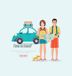 Couple travelers carring map with suitcases on a vector
