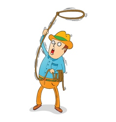 Cowboy with lasso vector