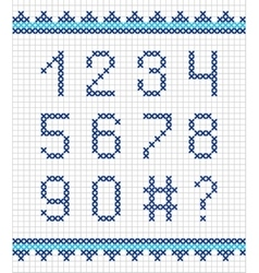 Cross stitch numerals embroidery vector