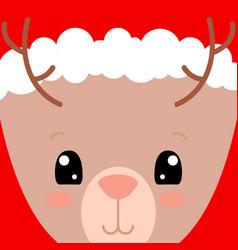 cute deer face card santa claus hat on deer vector image