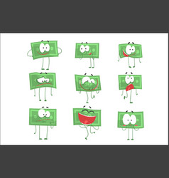 Cute funny humanized banknotes showing different vector