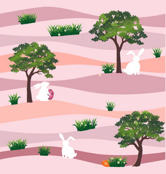 cute rabbits with easter eggs in the garden vector image