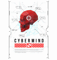 cyber mind concept poster with low poly head vector image
