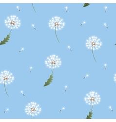 Dandelion seamless pattern on blue background vector image