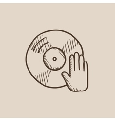 Disc with dj hand sketch icon vector image