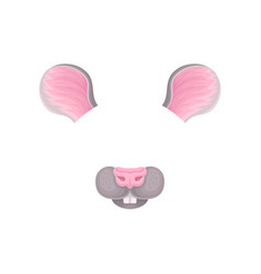 ears nose and teeth of little mouse mask for vector image