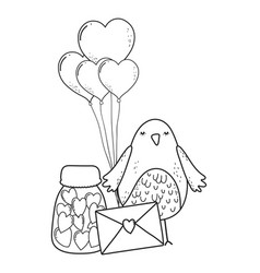 Envelope with heart shaped party balloons vector