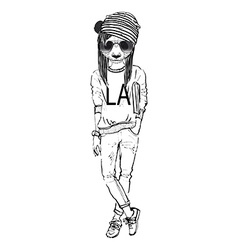 Fashion of panda girl dressed up in city urban vector