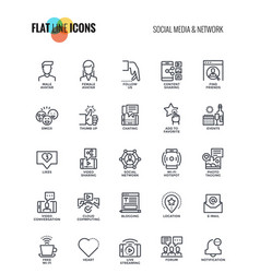 Flat line icons design-social media and network vector