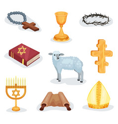 Flat set of religious symbols and objects vector