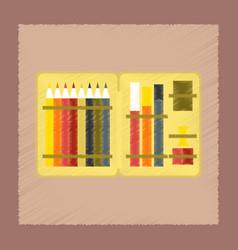 Flat shading style icon pencil box pencil pen vector