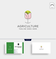 flower agriculture environment simple line logo vector image