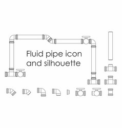 Fluid pipe outline only vector