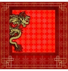 Frame red dragon gold-colored sticker 8 vector