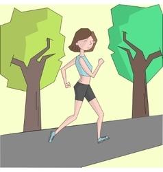Girl run morning street color vector image