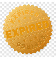 Gold expired medal stamp vector