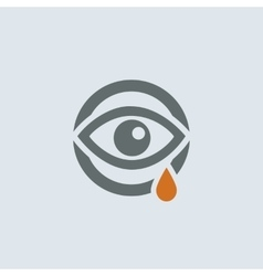 Gray-orange running eye round icon vector