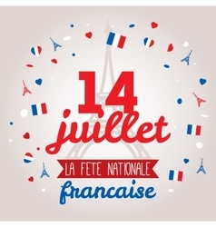 Greeting card design for The Bastille Day 14 july vector image vector image