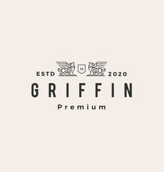 Griffin coat arms hipster vintage logo icon vector