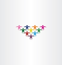 Group of people students colorful icon logo vector