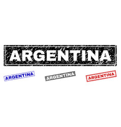 grunge argentina scratched rectangle watermarks vector image