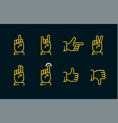 hand gestures thin line icon set in dark colors vector image