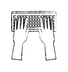 Hands working in keyboard system device vector