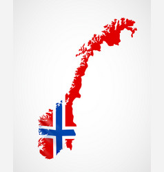 Hanging norway flag in form of map kingdom vector