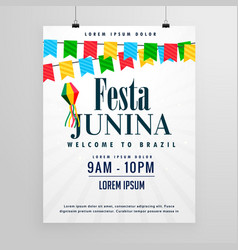 happy festa junina poster design invitation vector image